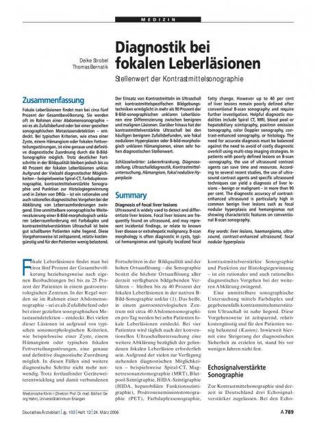 Diagnostik bei fokalen Leberläsionen: Stellenwert der Kontrastmittelsonographie