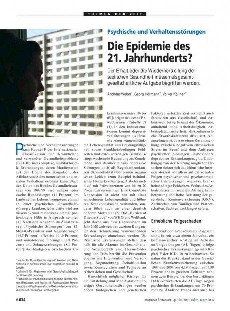 Psychische und Verhaltensstörungen: Die Epidemie des 21. Jahrhunderts?