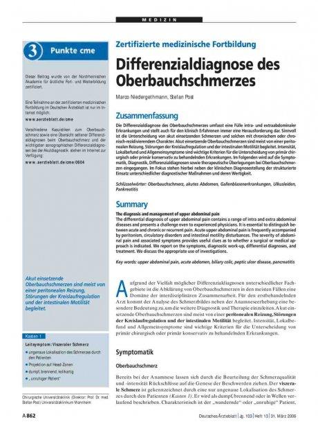 Zertifizierte medizinische Fortbildung: Differenzialdiagnose des Oberbauchschmerzes