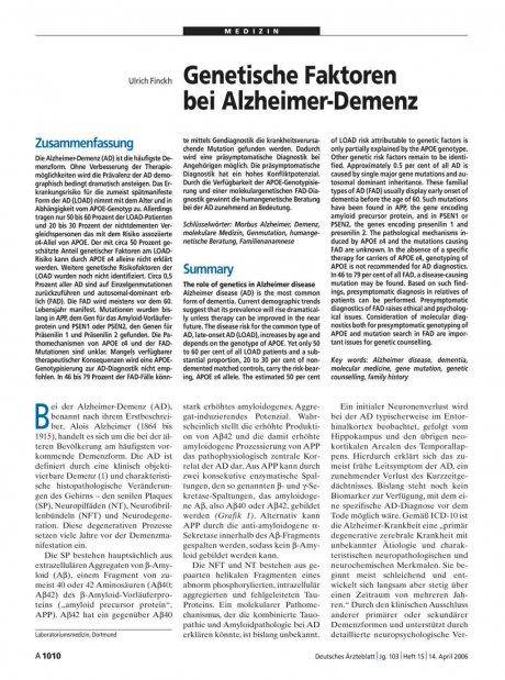 Genetische Faktoren bei Alzheimer-Demenz