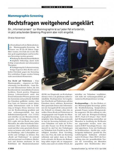 Mammographie-Screening: Rechtsfragen weitgehend ungeklärt