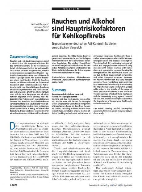 Rauchen und Alkohol sind Hauptrisikofaktoren für Kehlkopfkrebs: Ergebnisse einer deutschen Fall-Kontroll-Studie im europäischen Vergleich