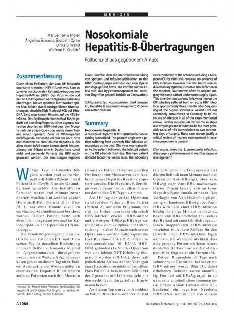 Nosokomiale Hepatitis-B-Übertragungen: Fallbeispiel aus gegebenem Anlass
