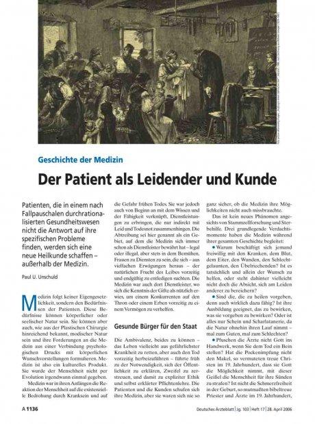Geschichte der Medizin: Der Patient als Leidender und Kunde