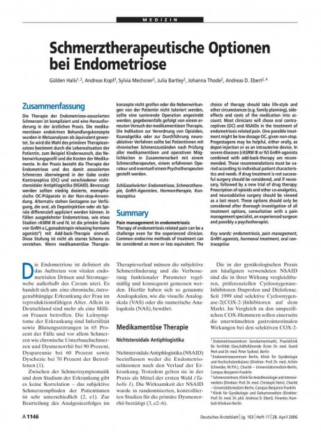Schmerztherapeutische Optionen bei Endometriose