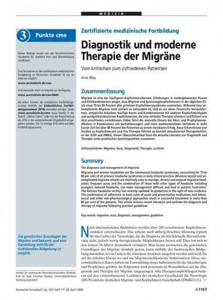 Zertifizierte medizinische Fortbildung: Diagnostik und moderne Therapie der Migräne – Vom kritischen zum zufriedenen Patienten
