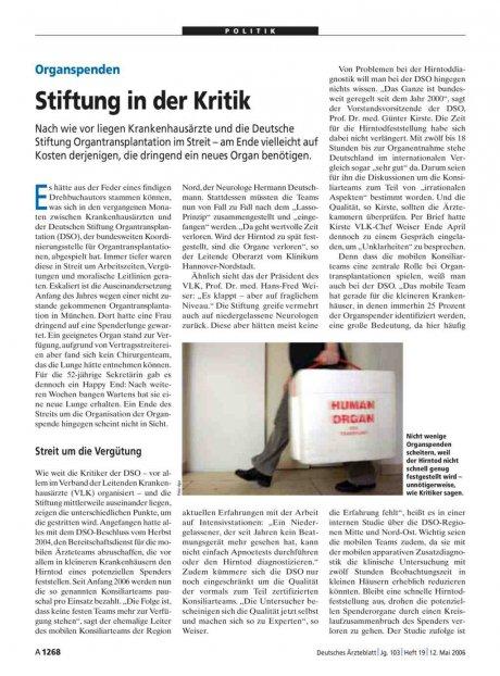 Organspenden: Stiftung in der Kritik