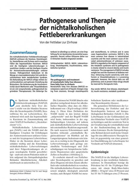 Pathogenese und Therapie der nichtalkoholischen Fettlebererkrankungen: Von der Fettleber zur Zirrhose