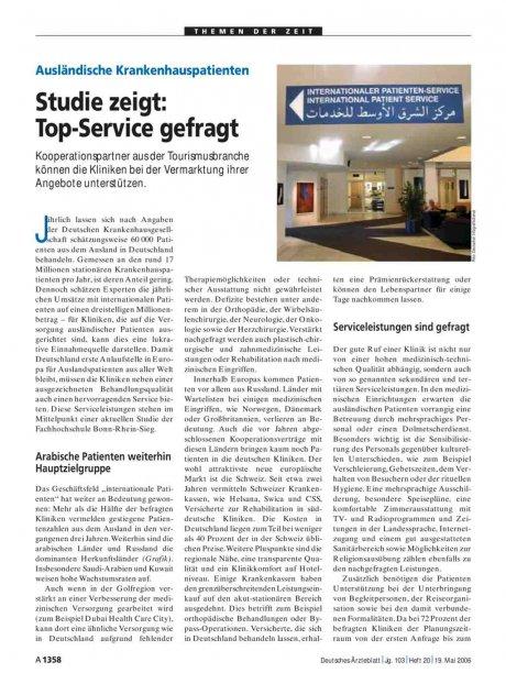Ausländische Krankenhauspatienten: Studie zeigt - Top-Service gefragt