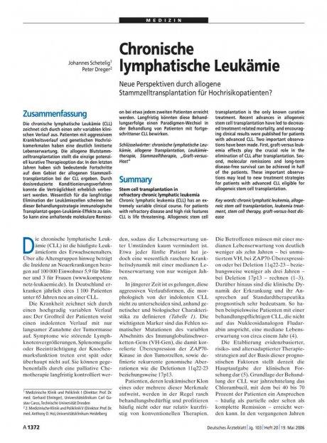 Chronische lymphatische Leukämie: Neue Perspektiven durch allogene Stammzelltransplantation für Hochrisikopatienten?