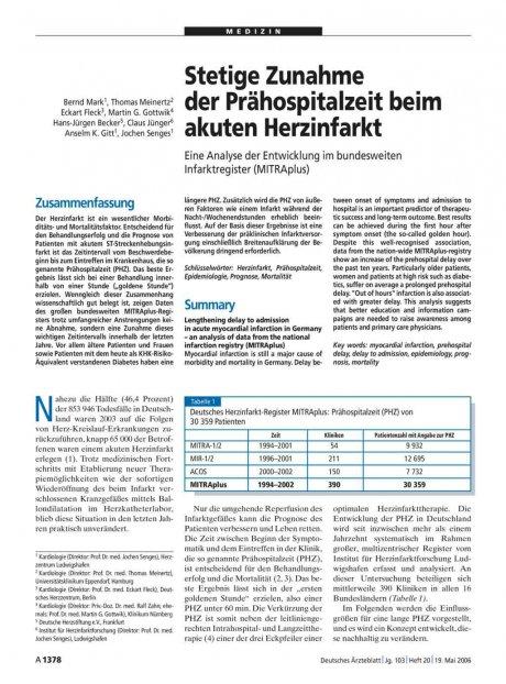 Stetige Zunahme der Prähospitalzeit beim akuten Herzinfarkt: Eine Analyse der Entwicklung im bundesweiten Infarktregister (MITRAplus)