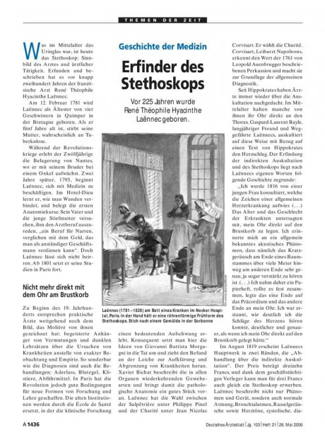 Geschichte der Medizin: Erfinder des Stethoskops