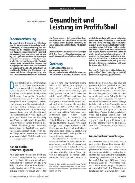 Gesundheit und Leistung im Profifußball