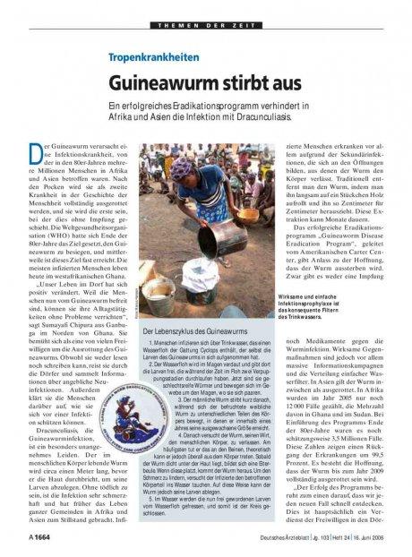 Tropenkrankheiten: Guineawurm stirbt aus