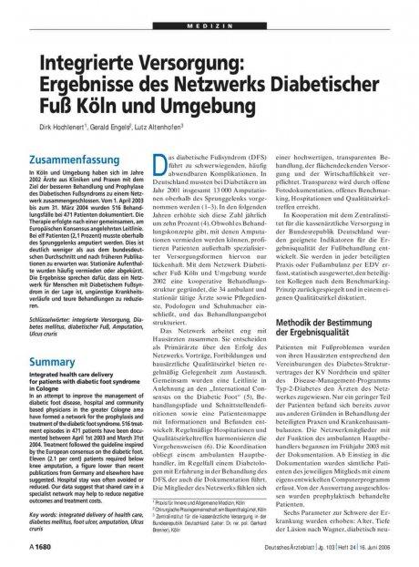 Integrierte Versorgung: Ergebnisse des Netzwerks Diabetischer Fuß Köln und Umgebung