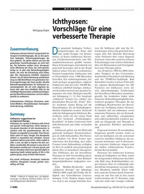 Ichthyosen: Vorschläge für eine verbesserte Therapie