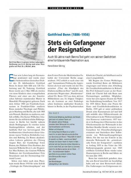 Gottfried Benn (1886–1956): Stets ein Gefangener der Resignation