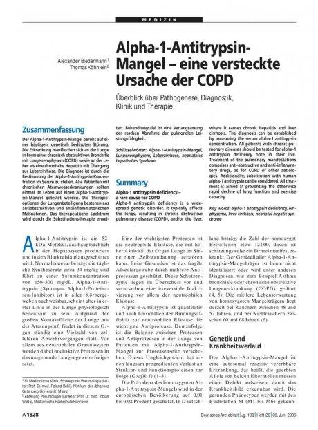 Alpha-1-Antitrypsin-Mangel – eine versteckte Ursache der COPD: Überblick über Pathogenese, Diagnostik, Klinik und Therapie