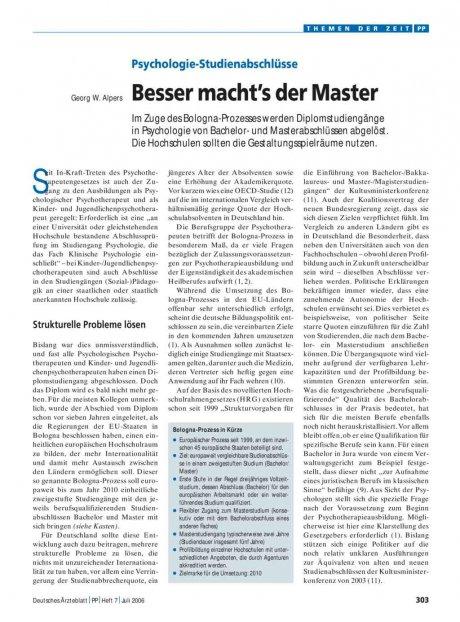 Psychologie-Studienabschlüsse: Besser macht's der Master