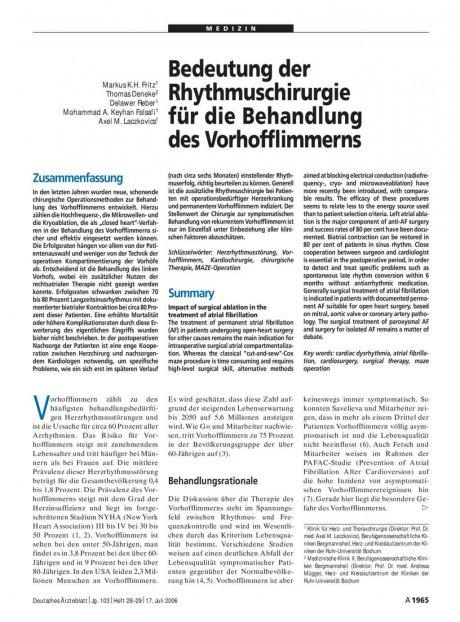 Bedeutung der Rhythmuschirurgie für die Behandlung des Vorhofflimmerns
