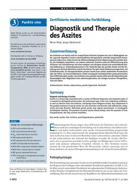 Zertifizierte medizinische Fortbildung: Diagnostik und Therapie des Aszites
