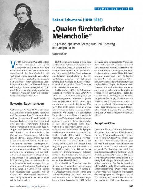 """Robert Schumann (1810–1856): """"Qualen fürchterlichster Melancholie"""""""