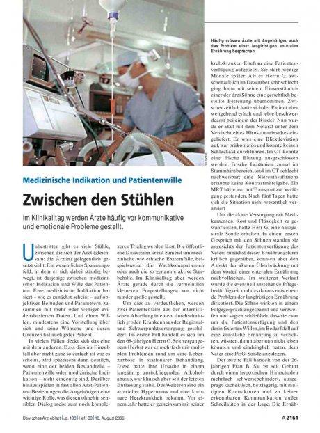 Medizinische Indikation und Patientenwille: Zwischen den Stühlen