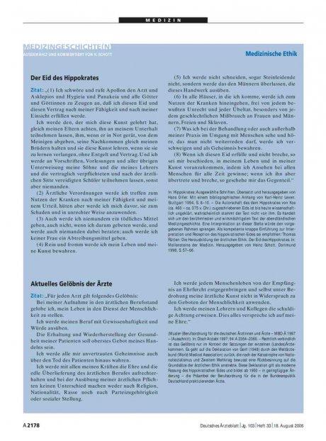 Medizingeschichte(n): Medizinische Ethik – Aktuelles Gelöbnis der Ärzte