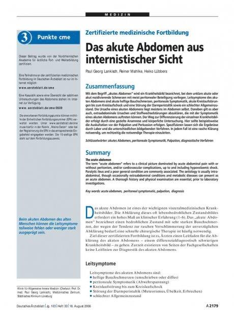 Zertifizierte medizinische Fortbildung: Das akute Abdomen aus internistischer Sicht