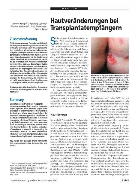 Hautveränderungen bei Transplantatempfängern