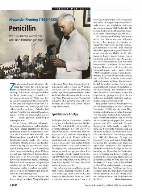 Alexander Fleming (1881–1955): Penicillin