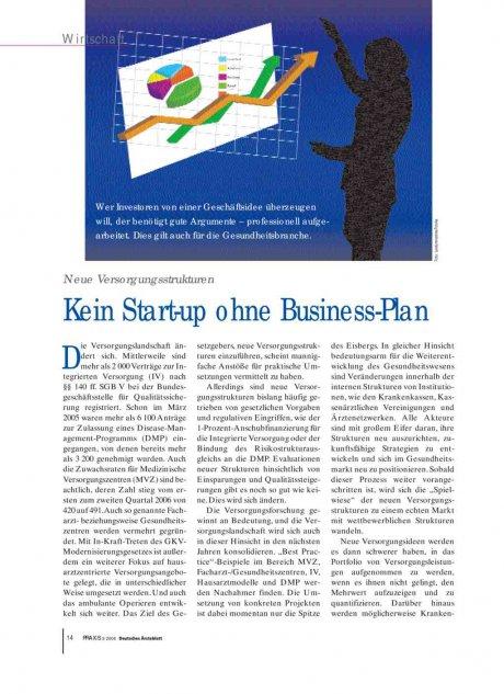 Neue Versorgungsstrukturen: Kein Start-up ohne Business-Plan