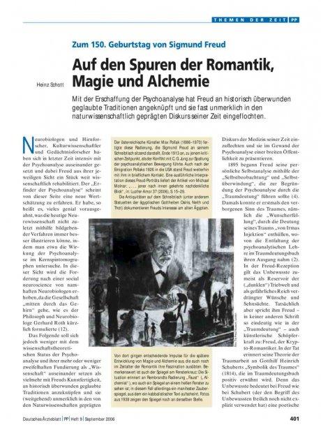 Zum 150. Geburtstag von Sigmund Freud: Auf den Spuren der Romantik, Magie und Alchemie