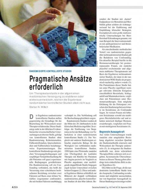 Randomisierte kontrollierte Studien: Pragmatische Ansätze erforderlich
