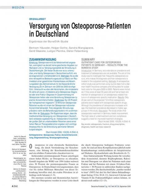 Versorgung von Osteoporose-Patienten in Deutschland