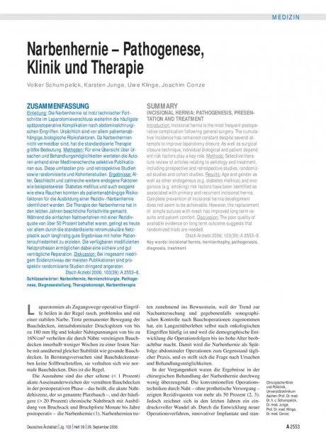 Narbenhernie – Pathogenese, Klinik und Therapie