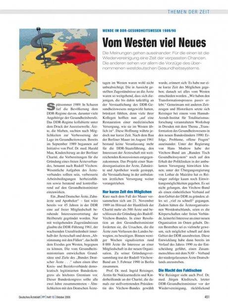 Wende im DDR-Gesundheitswesen 1989/90: Vom Westen viel Neues