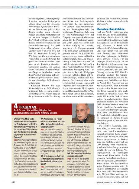 4 Fragen an… Prof. Dr. med. Harald Mau, Mitglied des Bundesvorstandes des NAV-Virchow-Bundes