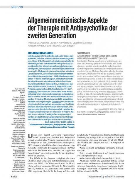 Allgemeinmedizinische Aspekte der Therapie mit Antipsychotika der zweiten Generation