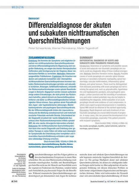 Differenzialdiagnose der akuten und subakuten nichttraumatischen Querschnittslähmungen