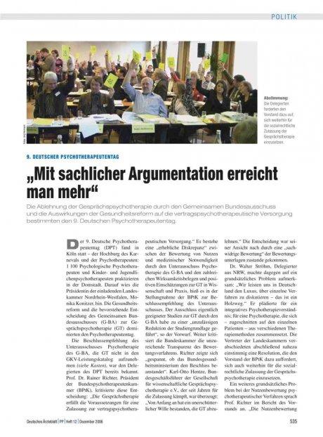"""9. Deutscher Psychotherapeutentag: """"Mit sachlicher Argumentation erreicht man mehr"""""""