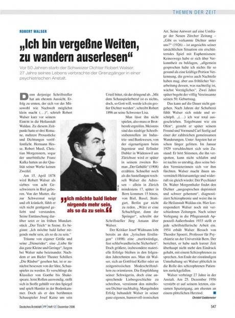 """Robert Walser: """"Ich bin vergeßne Weiten, zu wandern auserlesen"""""""