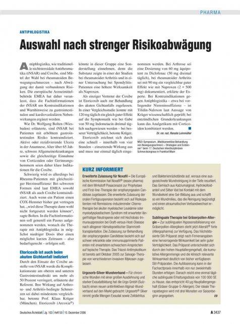 Antiphlogistika: Auswahl nach strenger Risikoabwägung