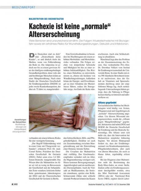 """Malnutrition bei Hochbetagten: Kachexie ist keine """"normale"""" Alterserscheinung"""