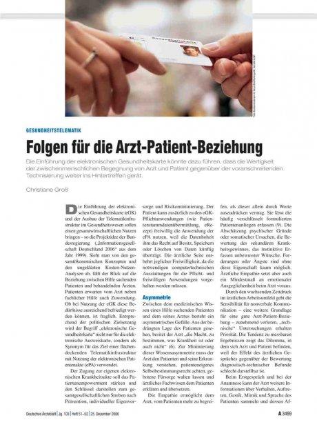 Gesundheitstelematik: Folgen für die Arzt-Patient-Beziehung