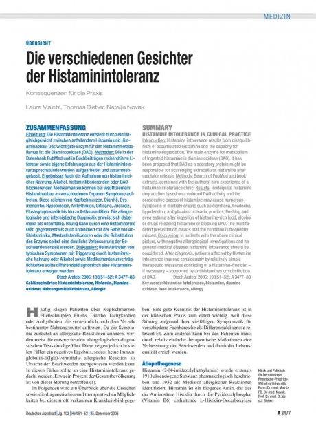 Die verschiedenen Gesichter der Histaminintoleranz