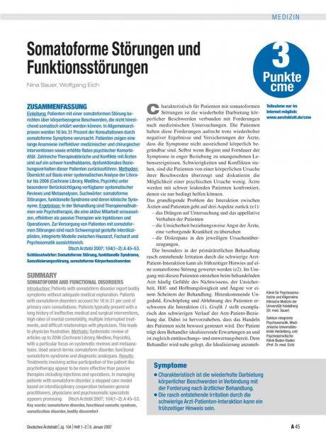 Somatoforme Störungen und Funktionsstörungen