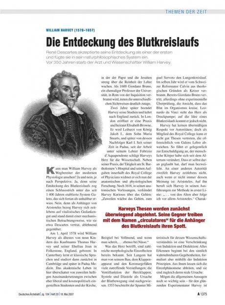 William Harvey (1578–1657): Die Entdeckung des Blutkreislaufs