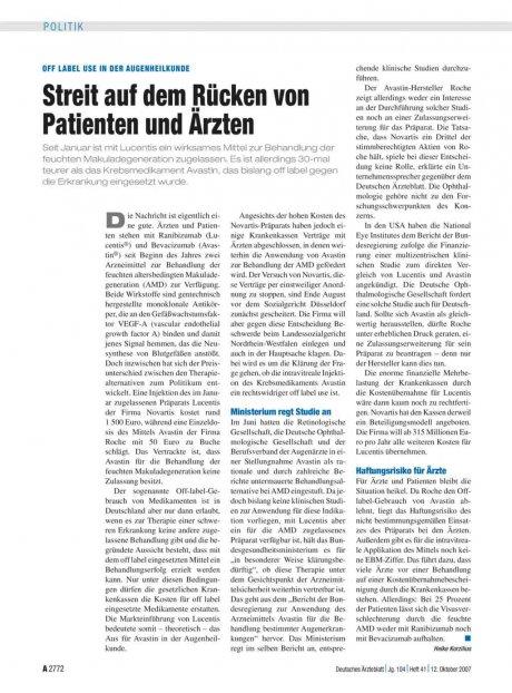 Off label Use in der Augenheilkunde: Streit auf dem Rücken von Patienten und Ärzten