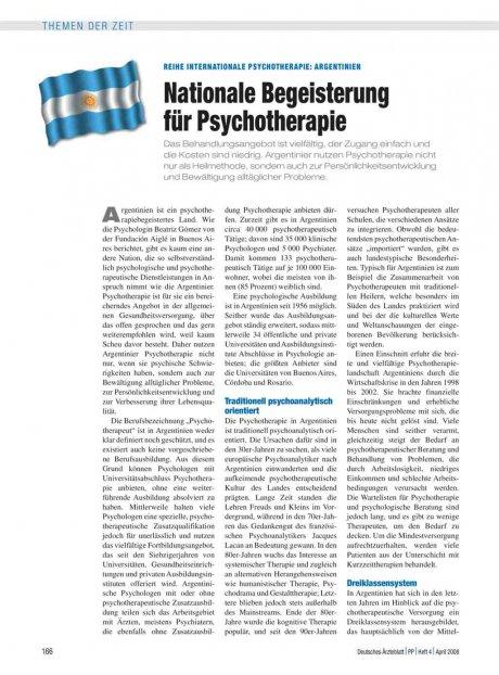 Reihe Internationale Psychotherapie: Argentinien – Nationale Begeisterung für Psychotherapie
